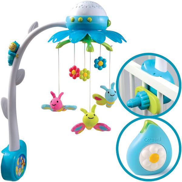 smoby cotoons musik mobile flower mit deckenprojektor blau. Black Bedroom Furniture Sets. Home Design Ideas