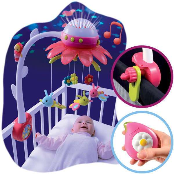 smoby cotoons musik mobile flower mit deckenprojektor pink. Black Bedroom Furniture Sets. Home Design Ideas