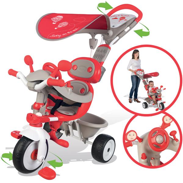 Smoby Dreirad Baby Driver Comfort Mixte mit Dach (Grau Rot) [Kinderspielzeug]