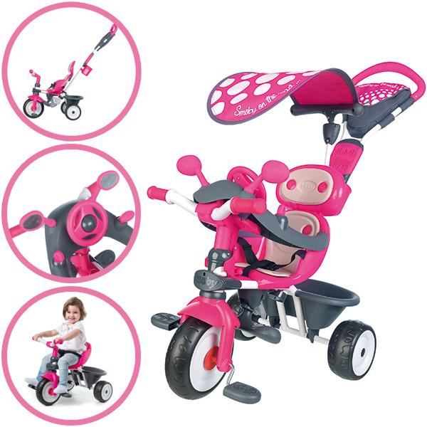 Smoby Dreirad Baby Driver Comfort mit Dach (Pink Grau) [Kinderspielzeug]