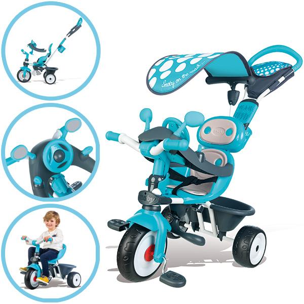 Smoby Dreirad Baby Driver Comfort mit Dach (Blau Grau) [Kinderspielzeug]