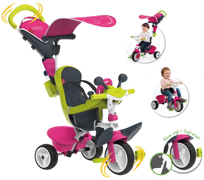 Smoby Dreirad Baby Driver Komfort II mit Lenkstange und Sonnendach (Pink) [Kinderspielzeug]