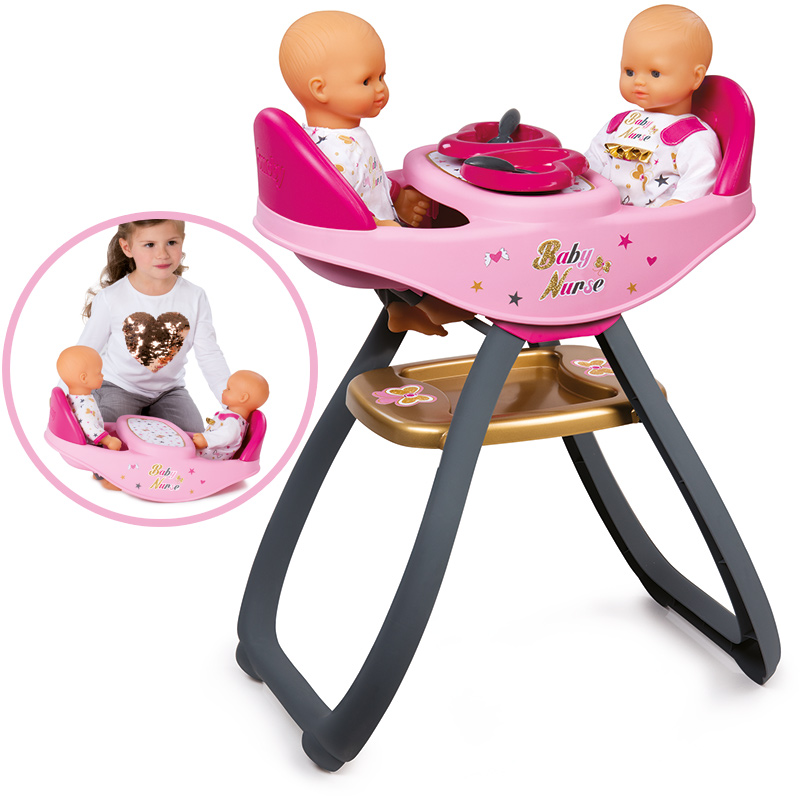 smoby baby nurse zwillingspuppen hochstuhl und wippe 2in1. Black Bedroom Furniture Sets. Home Design Ideas