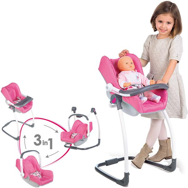 smoby maxi cosi hochstuhl autositz und schaukel 3in1 rosa grau bei spielzeug24. Black Bedroom Furniture Sets. Home Design Ideas