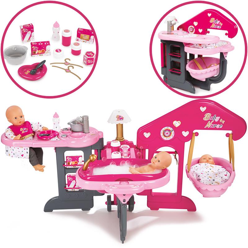 smoby gro es pflegecenter f r puppen pink grau bei spielzeug24. Black Bedroom Furniture Sets. Home Design Ideas