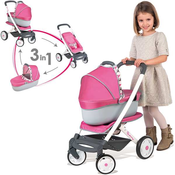 Smoby Quinny Puppenwagen 3in1 (Rosa-Grau) [Kinderspielzeug]