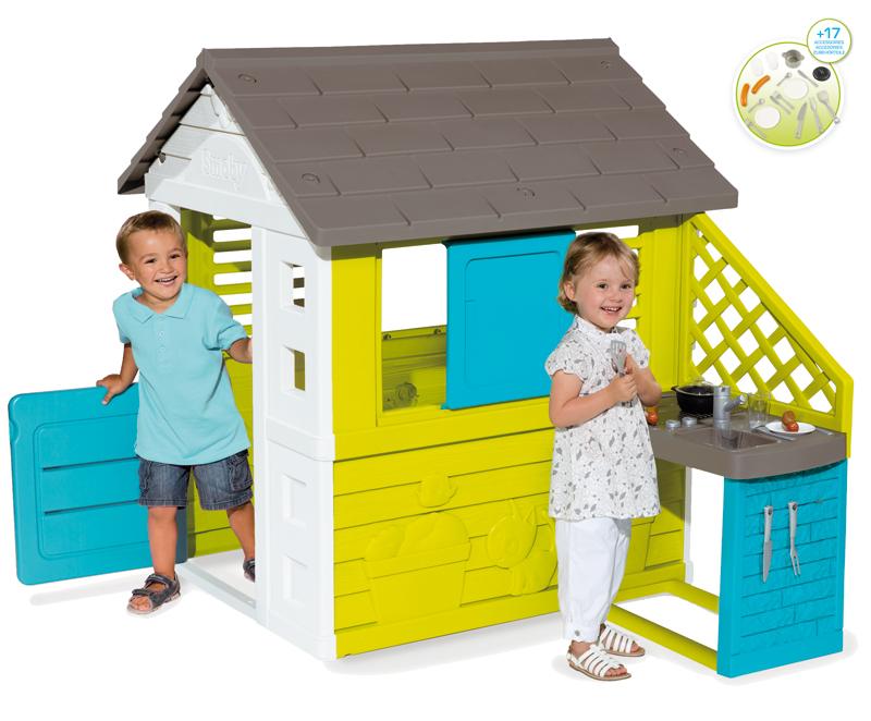 Smoby Spielhaus Pretty Haus mit Sommer-Spielküche (Türkis-Grün) bei ...