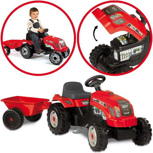 Smoby Traktor mit Anhänger (Rot) [Kinderspielzeug]