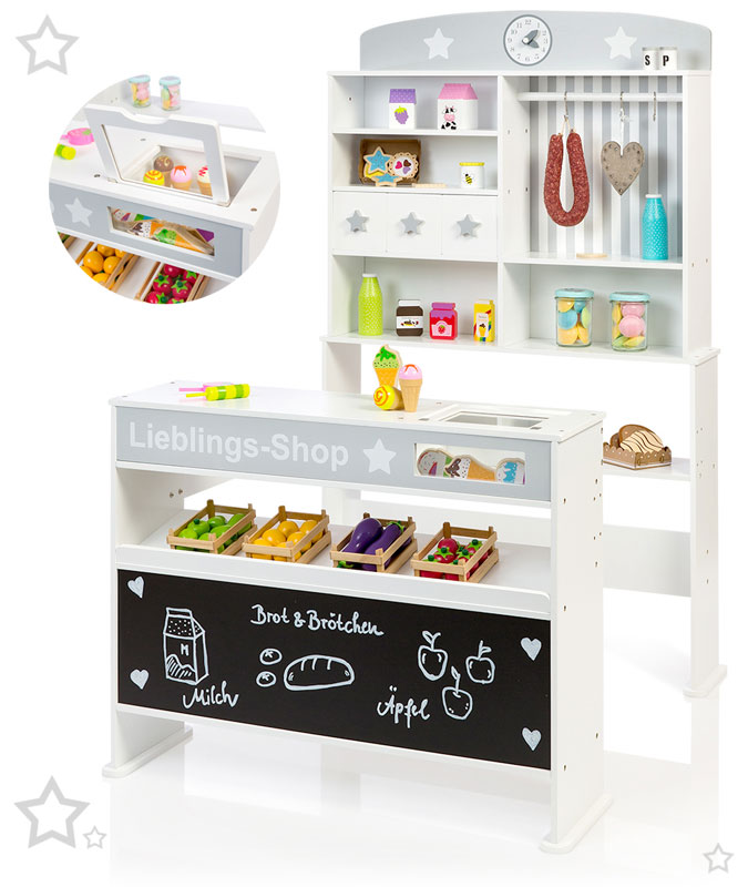 Küche Und Kaufladen 2 In 1 | Sun Kaufmannsladen Sternchen Mit Eisfach Und Breiter Theke Weiss
