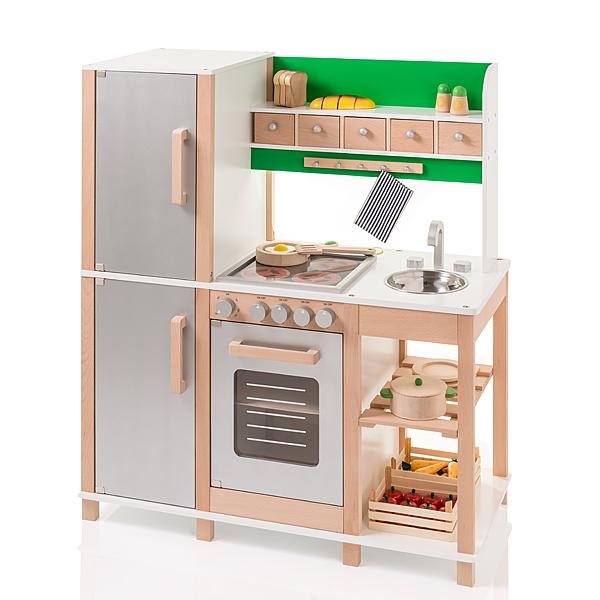 Große Kinderküche aus Holz (Buche-Grün) [Kinderspielzeug]