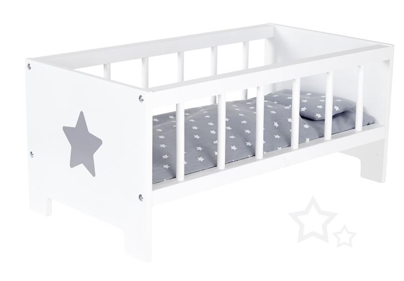sun puppenbett sternchen aus holz wei grau bei. Black Bedroom Furniture Sets. Home Design Ideas