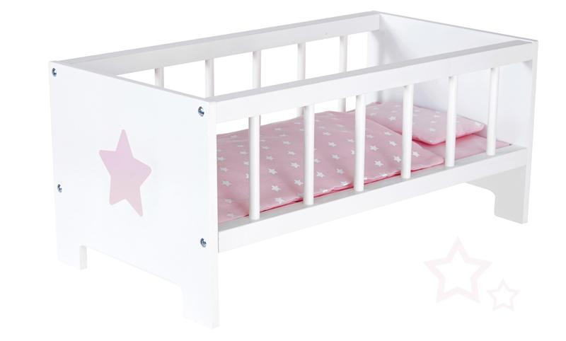 sun puppenbett sternchen aus holz wei rosa bei. Black Bedroom Furniture Sets. Home Design Ideas