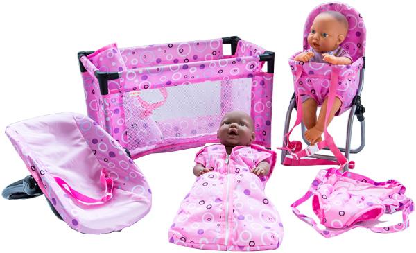sun-5-teiliges-puppenzubehor-set-happy-dots-rosa-lila-kinderspielzeug-