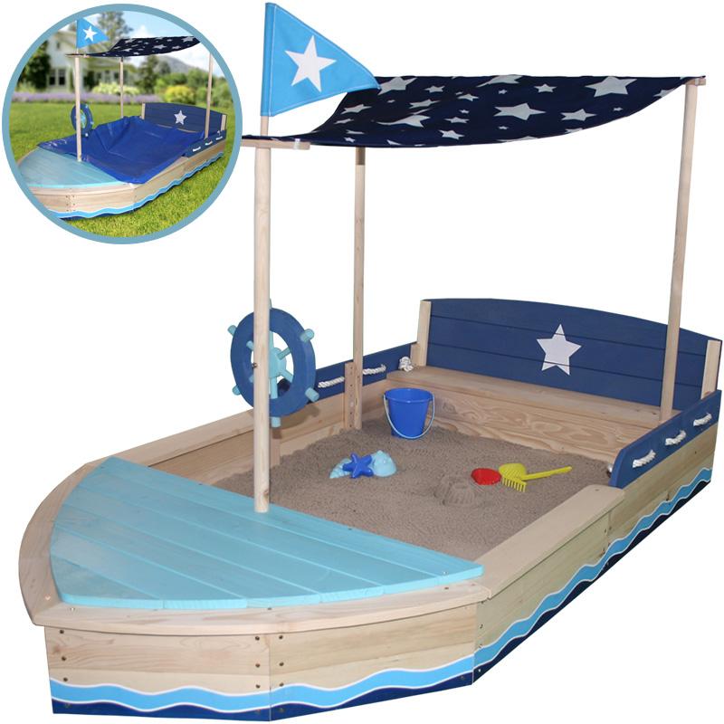 sun gro er sandkasten sternen schiff mit dach natur blau. Black Bedroom Furniture Sets. Home Design Ideas