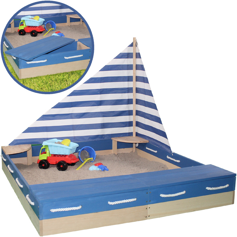 sun sandkasten matrose aus holz mit segel und abdeckplane natur blau bei spielzeug24. Black Bedroom Furniture Sets. Home Design Ideas