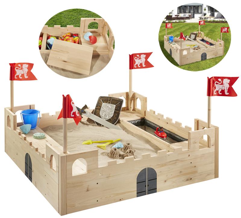 sun sandkasten ritterburg aus holz natur bei spielzeug24. Black Bedroom Furniture Sets. Home Design Ideas