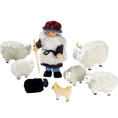 Puppenhaus-Puppen Schäfer mit Herde [Kinderspielzeug]
