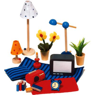 goki 17 teilige puppenhaus accessoires wohnzimmer bei spielzeug24. Black Bedroom Furniture Sets. Home Design Ideas
