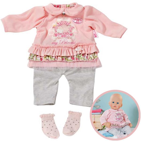 Zapf Creation Baby Annabell Kleidungsset Einteiler mit Söckchen (Rosa-Grau) [Kinderspielzeug]