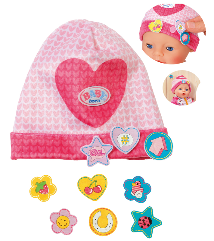 zapf-creation-baby-born-mutze-mit-batches-herz-pink-rosa-kinderspielzeug-