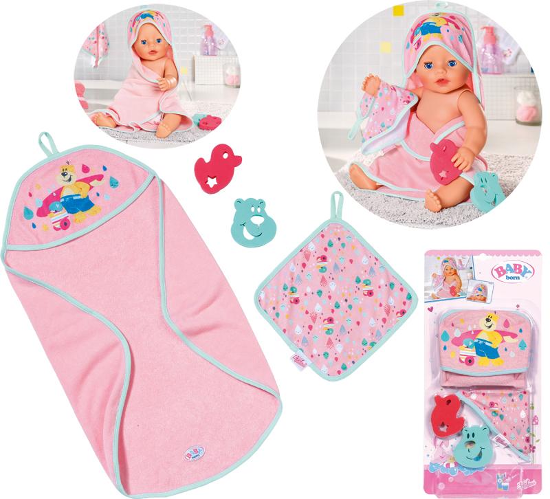 zapf-creation-baby-born-bath-kapuzenhandtuch-schwamm-rosa-kinderspielzeug-