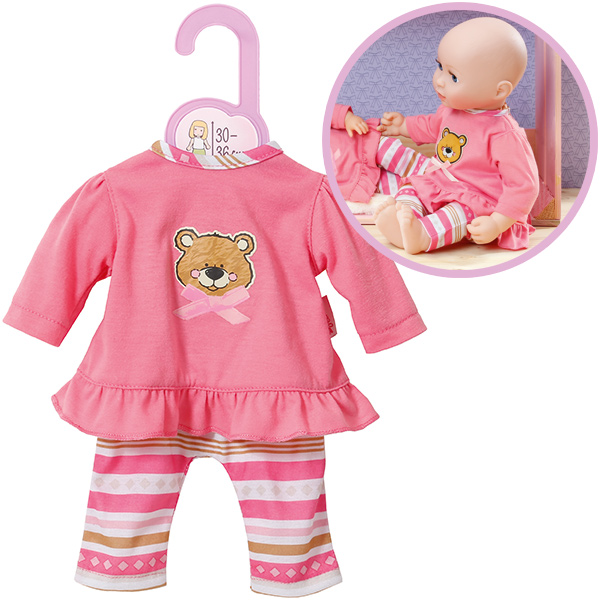 zapf creation dolly moda pyjama teddy 30 36 cm rosa bei spielzeug24. Black Bedroom Furniture Sets. Home Design Ideas