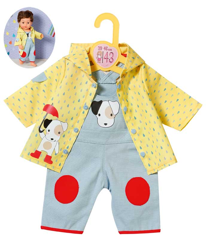 zapf-creation-dolly-moda-latzhose-mit-regenjacke-39-46-cm-gelb-blau-kinderspielzeug-