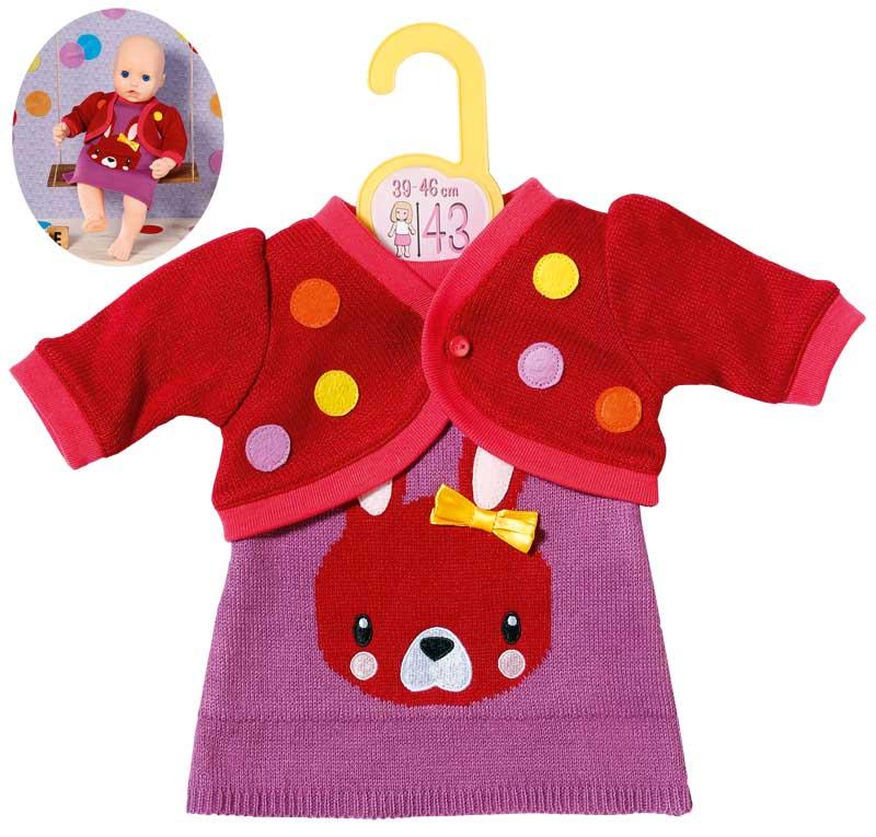 zapf-creation-dolly-moda-strickkleid-mit-jacke-39-46-cm-rot-lila-kinderspielzeug-