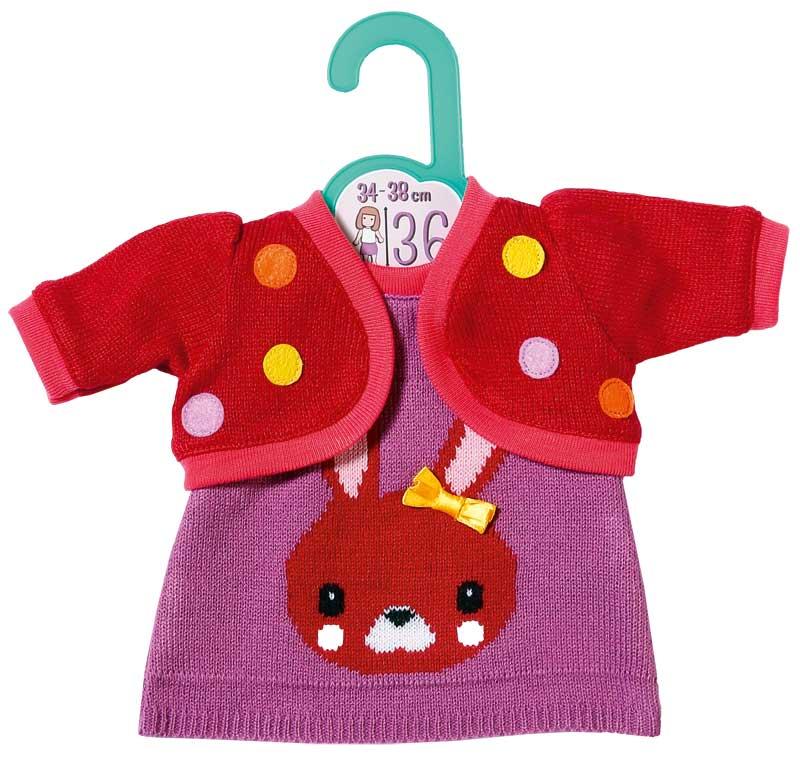 zapf-creation-dolly-moda-strickkleid-mit-jacke-34-38-cm-rot-lila-kinderspielzeug-