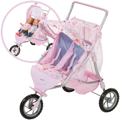 zapf creation baby born zwillingspuppenwagen rosa. Black Bedroom Furniture Sets. Home Design Ideas
